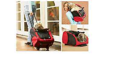 Small Pet Dog Cat Puppy Carrier Travel Rolling Trolley Bag Wheels In Red & Beige