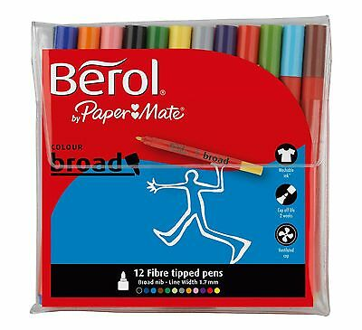 Berol Colour Broad Fibre Tip Pens. 12 Assorted Colours