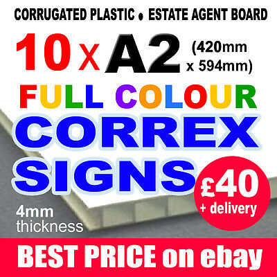 10x A2 FULL COLOUR CORREX OUTDOOR LAMPOST SIGN ESTATE AGENT BUILDERS SITE BOARD