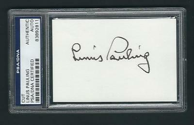 Linus Pauling signed card PSA Authenticated Nobel Prize 1954 & 1962