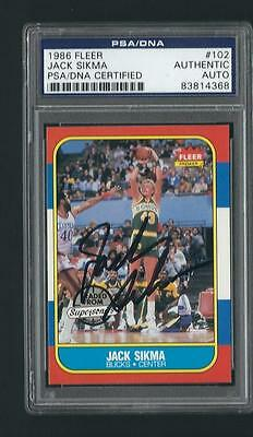 Jack Sikma signed 1986 Fleer Basketball card PSA Authenticated
