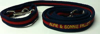Personalised Embroidered Dog Leads Double Hook Lead Agility Your Choice of Text