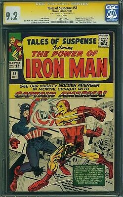 Tales Of Suspense #58, Cgc 9.2 White Pgs. Ss Signed By Stan Lee. Cap Vs Iron Man