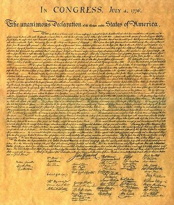 POSTER Size Declaration of Independence Shipped in Mailing Tube