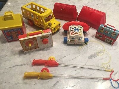 Vintage Lot FISHER PRICE PHONE Lunch Box Hickory Dickory Dock Radio School Bus +