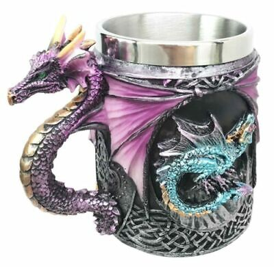Purple & Turquoise Dragon Beer Stein Tankard Coffee Cup Mug Home Fantasy Decor