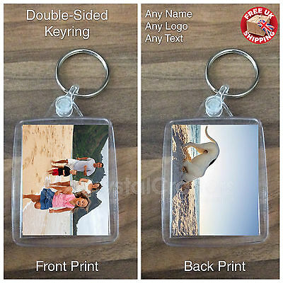 Personalised Custom Photo Gift Keyring Keyfob - Your Design - Double-Sided