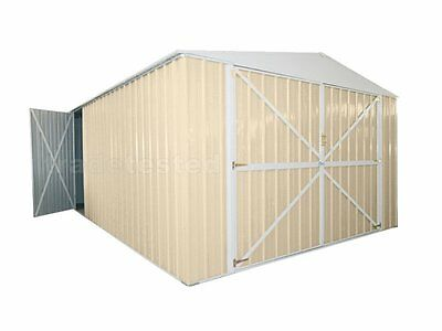 Workshop Garage 3.45m x 6.0m x 2.3m Cream Garages Steel NEW
