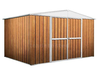 Garden Shed 3.45m x 2.6m x 2.1m Wood Finish Storage Sheds Large Double Door NEW