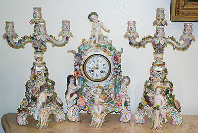 Late 18th C. Meissen-Marcolini Porcelain Mantel Clock Garniture Set Four Season