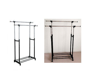 Mobile Stainless Heavy Duty Clothing Adjustable Double Rail Rack Hanger Holder