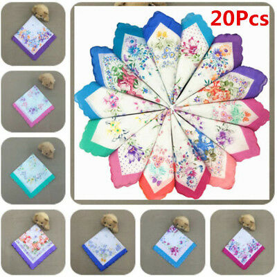 20Pcs Vintage Style Floral Flowers Handkerchief Lady Women Mocket Cotton Hanky