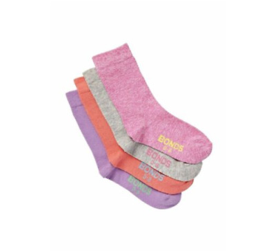 4 PACK BONDS KIDS SOCKS Crew School Blue Grey Navy Pink Purple ~ All sizes