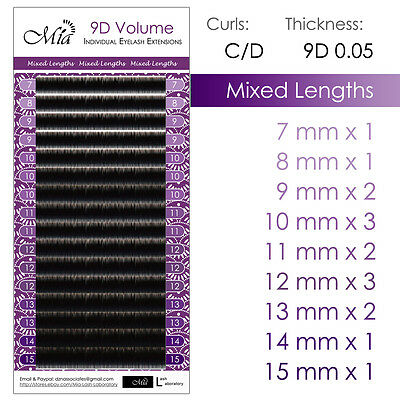 Mixed Length Tray Mia 0.05 Individual Eyelash Extension 9D Volume Semi Permanent