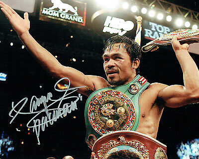Manny PACQUIAO SIGNED Boxing Champion 10x8 Photo AFTAL Autograph COA
