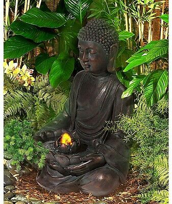 Indoor Outdoor Water Fountain Meditating Aged Bronze Buddha LED Light Decor