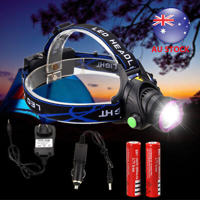 2 SET 5000Lm CREE XM-T6 LED Rechargeable Headlamp Headlight Head Torch+2x18650