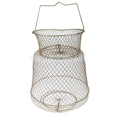 Collapsible Fish Basket Crab Lobster Shrimp Prawn Container 30cm Gold