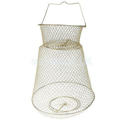 Collapsible Fish Basket Crab Lobster Shrimp Prawn Container 38cm Gold