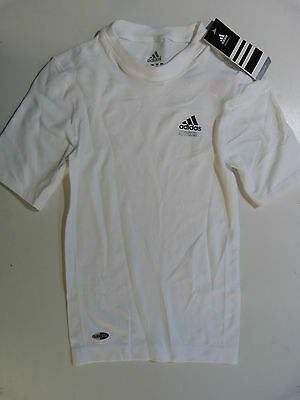 Boys Adidas Techfit White Short Sleeved Seamless Compression Top Climacool