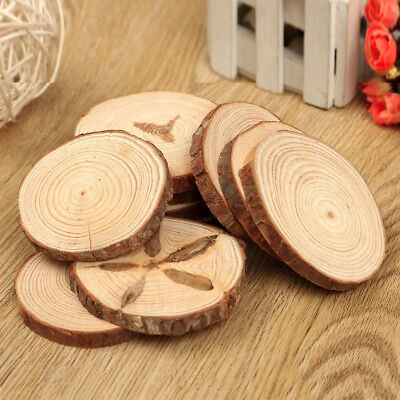10PCS Natural Tree Round Wood Log Slice For Wedding Centerpiece Bark Table Decor