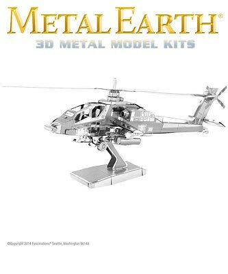Fascinations Metal Earth AH-64 Apache Helicopter Laser Cut 3D Model