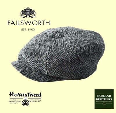 Failsworth Grey Harris Tweed Carloway Newsboy Baker Boy Peaky Shelby Cap