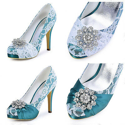 HC1413P Closed Toe Pump Heels Buckle White Lace Satin Wedding Bridal Party Shoes