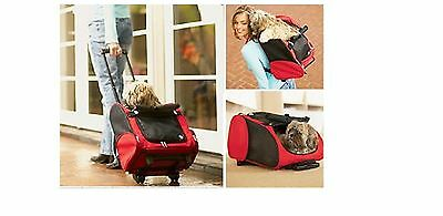 Small Pet Dog Cat Puppy Carrier Travel Rolling Trolley Bag Wheels Red Beige Free