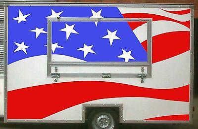 Large USA Flag Catering Trailer Stickers/Vinyl Graphics, Burger Van Decal