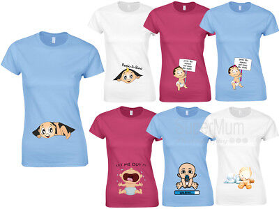Maternity Pregnancy Funny T-shirt Top Baby Loading Gift Baby Shower Peek a boo