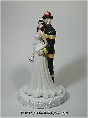 Wow ! Look at Fireman Black Gear Wedding Caketop 49FB4