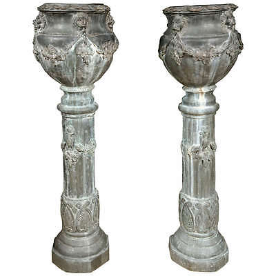 Pair of Zinc Column Planters 101-6377