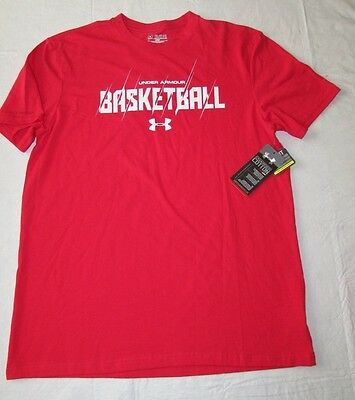 Brand New Under Armour Med Red Basketball Graphic T Loose Fit Charged Cotton NWT