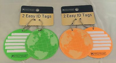 Lot Of 4 Protege Round Style Luggage Tags Suitcase ID Tags Neon Green & Orange