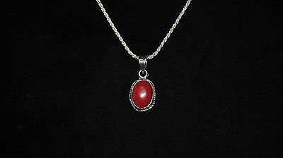 """Vintage Sterling Silver 925 MEXICO TF-31 Necklace Red Jasper Agate 24"""" Chunky"""