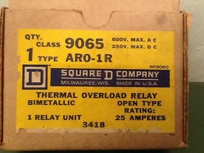 *NEW* Square D Thermal Overload Relay 9065-ARO-1R  Free Shipping