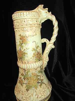Vtg Antique Wien Teplitz Austria Porcelain Tankard Pitcher With Serpent Handle