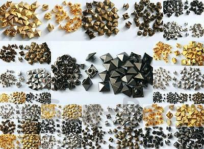 6-12mm Rivet Burr Set options Square Pyramid Steel Plated for Leather Bags Shoes