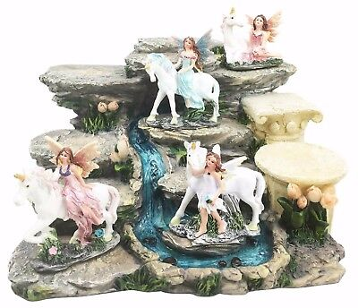 Fairy & Unicorn With Waterfall Display Figurine Statue Set Fantasy Magic World
