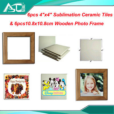 "12Sets 4*4"" Ceramic Tile  Wooden Photo Frame Sublimation Heat Transfer"