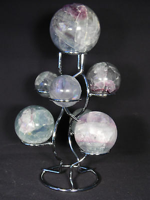A Neat! SEVEN Sphere, Egg, Golf Ball or Whatever? Chrome Display Stand!