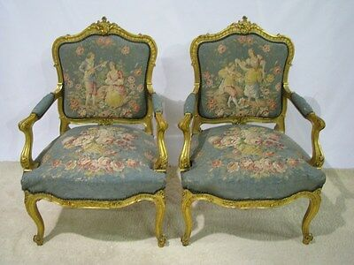 Pair Early 20th Century Louis XV Style Gilt Armchairs With Aubusson Style Fabric