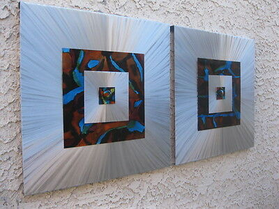 Metal wall art  Abstract painting sculpture by Artist Holly Lentz