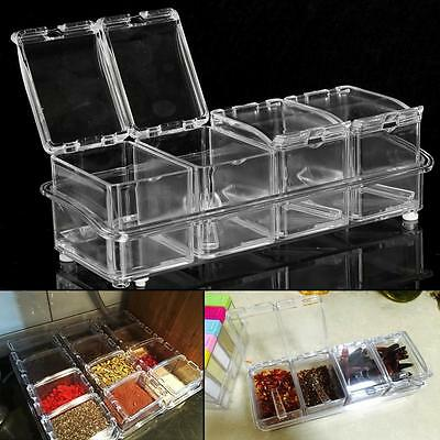 Acrylic Spice Container Jar Condiment Dispenser Salt Seasoning Box For Kitchen