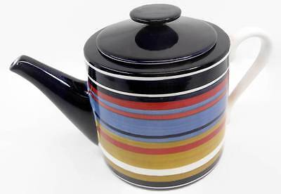 Vintage Living Art Firenze Teapot Colorful Stripes Pottery