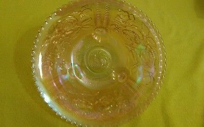 Vintage Carnival Glass Imperial Footed Fruit Bowl Rose Pattern Broth Color
