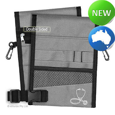 Nursing Pouch-13 Pocket Double Sided, Zip, Belt, Embroidery, Nurse - Grey