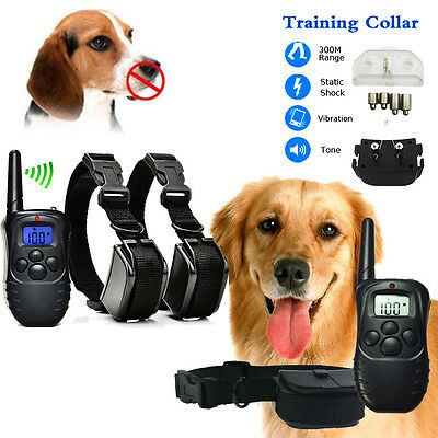 100LV Dog Collar 300Meter Level LCD Pet Training Electric Shock Vibration Remote
