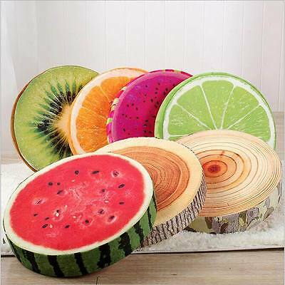 3D Fruit Round Seat Cushion Throw Pillow Home Office Sofa Chair Car Seat Pad